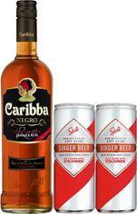Коктейль Тьма и буря: Ром Caribba Negro 1 л 37.5% + безалкогольный напиток Stoli Ginger Beer 0.25 л х 2 банки (4740050320203) от Rozetka