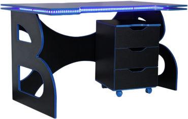 Геймерский стол с тумбой Barsky Game HG-04/LED/СUP-04/ПК-01 Blue от Rozetka