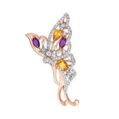Золотая брошь Яркая бабочка с аметистами, цитринами, голубыми топазами и фианитами 000124332 от Zlato
