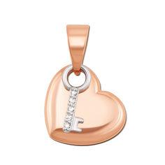Акция на Кулон-сердце в комбинированном цвете золота с ключиком и бриллиантами 000131490 000131490 от Zlato