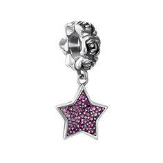 Серебряный шарм с подвеской-звездой и фианитами 000133670 000133670 от Zlato