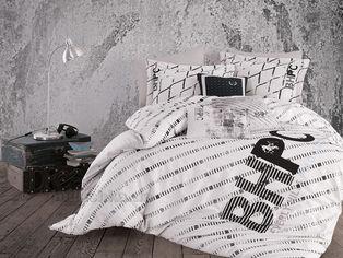 Акция на Постельное белье Beverly Hills Polo Club BHPC ранфорс 016 Black Двуспальный евро комплект от Podushka