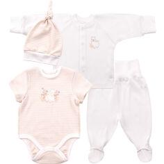 Комплект для новорожденных Bembi КП195 эко-интерлок 62 цвет молочный с рисунком от Podushka