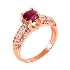 Акция на Кольцо из красного золота с рубином и бриллиантами 000131167 000131167 17 размера от Zlato