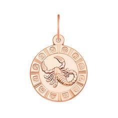 Золотой кулон Знак Зодиака Скорпион в красном цвете 000119544 от Zlato