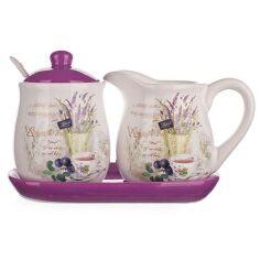 Акция на Набор кухонный Banquet Lavender Молочник и сахарница на подставке 60ZF1082-A от Podushka
