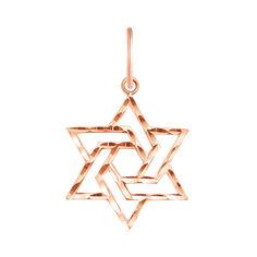 Золотая подвеска Звезда Давида в красном цвете с алмазной гранью 000129471 от Zlato
