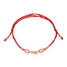 Браслет из шелковой нити и красного золота с цирконием 000133579 000133579 б/р размера от Zlato