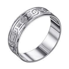 Серебряное обручальноекольцо Валенсия с насечками 000129729 21.5 размера от Zlato