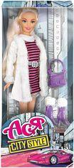 Кукла Ася в белом пальто и полосатом платье, Городской стиль от Stylus
