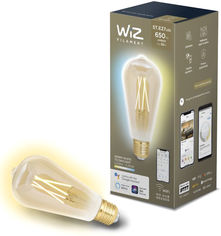 Умная лампочка WIZ Smart LED WiFi ST64 E27 DW FA Q Warm Dimmable Filament 550lm 2200K (WZE21016411-A) от Rozetka