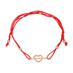 Браслет из шелковой нити и красного золота с фианитами 000133265 000133265 б/р размера от Zlato