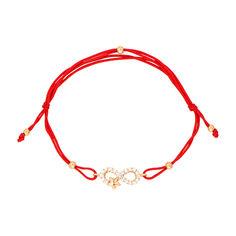 Браслет из золота и красной шелковой нити с фианитами 000123142 000123142 б/р размера от Zlato