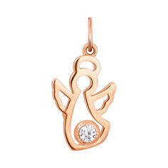 Золотой кулон Нежный ангел с завальцованным белым фианитом 000113108 от Zlato