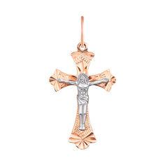 Акция на Золотой крестик в комбинированном цвете с насечками 000115592 000115592 от Zlato