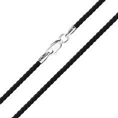 Шелковый шнурок Милан черного цвета c серебряной застежкой 000102873 45 размера от Zlato