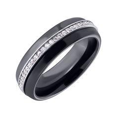 Ккольцо из черной керамики и серебра с фианитами 000025489 000025489 17 размера от Zlato