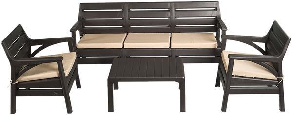 Набор мебели Irak Plastik Гавайи (2 кресла + скамейка + столик) Тёмно-коричневый (7033kmd) от Rozetka