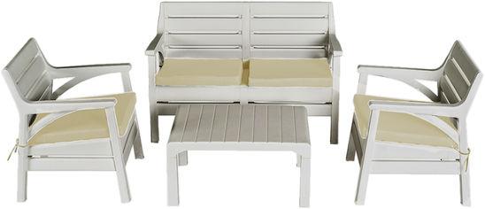 Набор мебели Irak Plastik Маями (2 кресла + скамейка + столик) Белый (7030kmd) от Rozetka