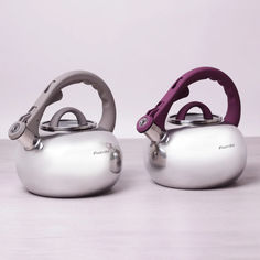 Чайник из нержавеющей стали со свистком Kamille 2,8л 0687A  цвет ручки фиолетовый от Podushka
