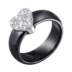 Кольцо из черной керамики и серебра с фианитами 000140150 000140150 17.5 размера от Zlato