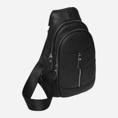 Акция на Мужская сумка-слинг кожаная Laras K10318-black Черная (ROZ6400008852) от Rozetka