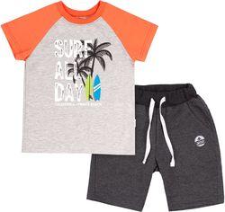 Костюм (футболка + шорты) Бемби КС616 122 см Оранжевый с серым (06616012242.DX0) от Rozetka