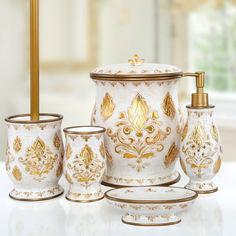 Набор аксессуаров в ванную 5 предметов Dora gold Irya золотой от Podushka