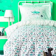 Подростковое постельное белье ранфорс Karaca Shark yesil Двуспальный евро комплект с пледом от Podushka