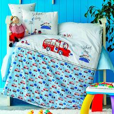 Постельное белье в кроватку Karaca School bus mavi 2020-2 голубой Детский комплект от Podushka