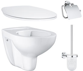 Унитаз подвесной GROHE Bau Ceramic 39427000 безободковый + сиденье 39493000 + ёршик для унитаза 40463001 + бумагодержатель Essentials 40367001 от Rozetka