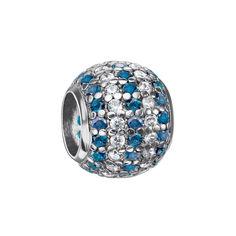 Серебряный шарм с голубыми и белыми фианитами 000116401 000116401 от Zlato