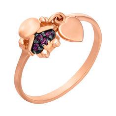 Кольцо из красного золота с подвеской-сердечком и красными фианитами 000104456 000104456 18 размера от Zlato
