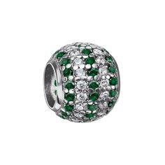 Серебряный шарм с зелеными и белыми фианитами 000116402 000116402 от Zlato