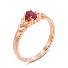 Кольцо из красного золота с рубином и бриллиантами 000131205 000131205 15.5 размера от Zlato