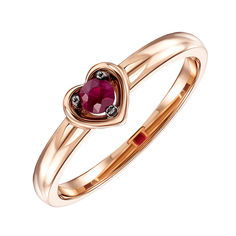 Кольцо из красного золота с рубином 000136539 000136539 17 размера от Zlato