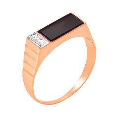 Перстень-печатка из красного золота с черным ониксом и фианитами 000004099 000004099 22 размера от Zlato