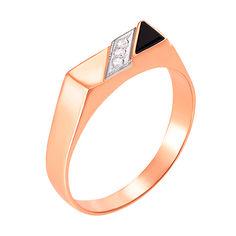 Золотой перстень-печатка с ониксом и фианитами 000104112 000104112 21 размера от Zlato