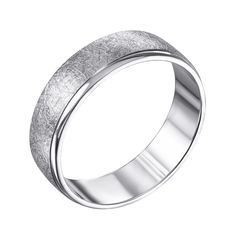 Серебряное обручальное кольцо с эффектом царапин и глянцевой полоской 000119334 000119334 16 размера от Zlato