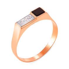 Золотой перстень-печатка в комбинированном цвете с черным ониксом и фианитами 000104115 000104115 19.5 размера от Zlato