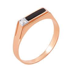 Золотое кольцо-печатка с фианитом и эмалью 000055219 000055219 21 размера от Zlato