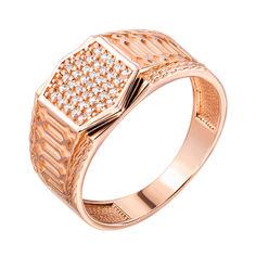 Перстень-печатка из красного золота с цирконием 000140449 000140449 21.5 размера от Zlato