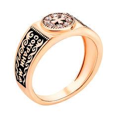 Перстень-печатка из красного золота Спаси и Сохрани с фианитами и чернением 000122433 000122433 18 размера от Zlato