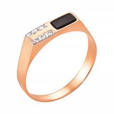 Перстень-печатка из красного золота с черным ониксом и фианитами 000129083 000129083 19 размера от Zlato