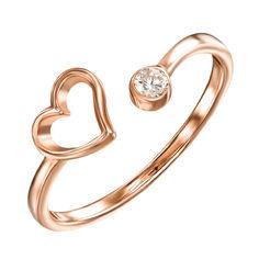 Кольцо из красного золота с фианитом 000121686 000121686 16.5 размера от Zlato