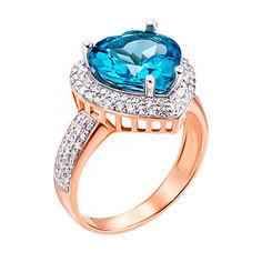 Кольцо в комбинированном цвете золота с голубым топазом, фианитами и родированием 000131334 000131334 16 размера от Zlato