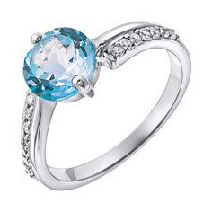 Серебряное кольцо с голубым топазом и фианитами 000137300 000137300 16 размера от Zlato
