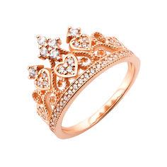 Кольцо-корона из красного золота с фианитами 000117160 000117160 17 размера от Zlato