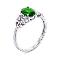 Кольцо из белого золота с изумрудом и бриллиантами 000136713 000136713 16 размера от Zlato