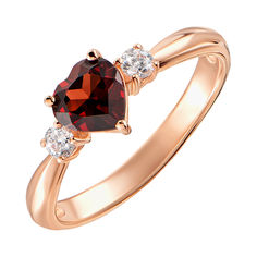 Кольцо из красного золота с гранатом и фианитами 000131341 000131341 16.5 размера от Zlato